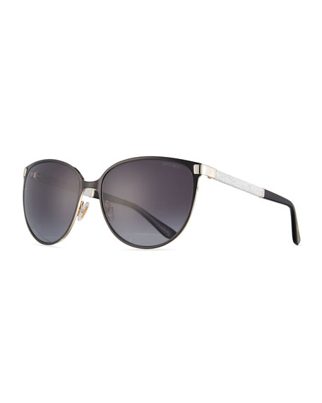 Jimmy Choo Posie Crystal-Temple Round Sunglasses, Black