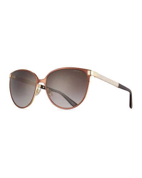 Jimmy Choo Posie Crystal-Temple Round Sunglasses, Brown