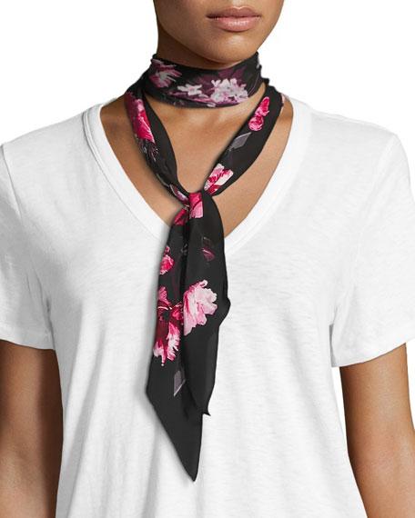 Rockins Flora Super Skinny Silk Scarf, Pink/Black