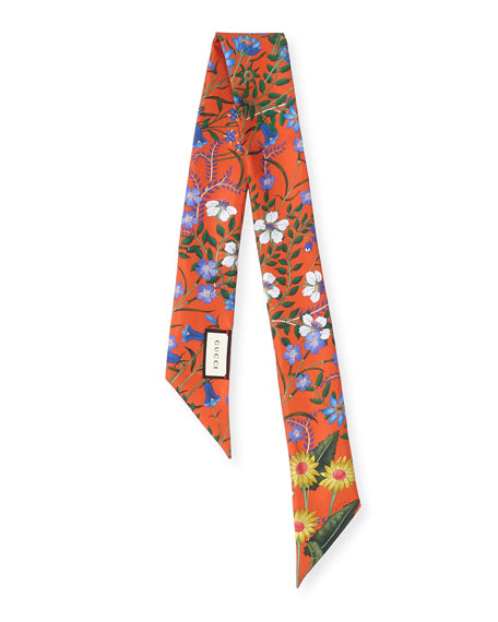 Flora Skinny Silk Scarf