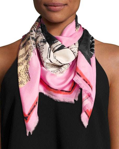 Gucci Tiger Face Silk Scarf, Rose