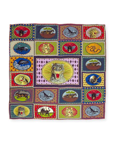 Tiger Cards Silk Twill Scarf, Multicolor