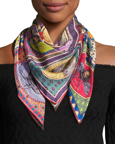 Tiger Cards Silk Twill Scarf, Multicolor