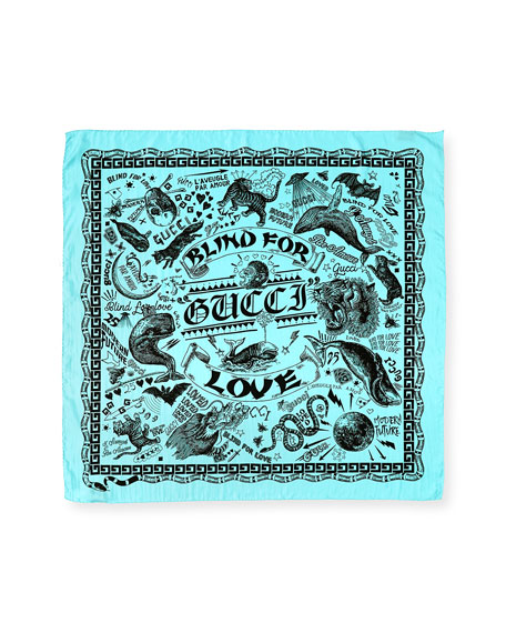 Noodle Foulard Takeout Print Silk Twill Scarf