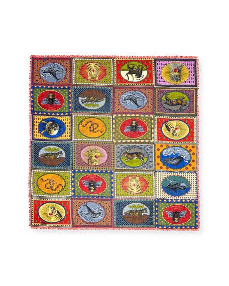 Tiger Card Silk Shawl, Multi