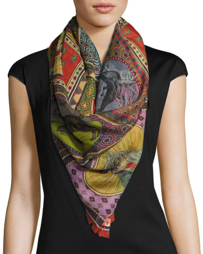 Tiger Card Silk Shawl, Multi