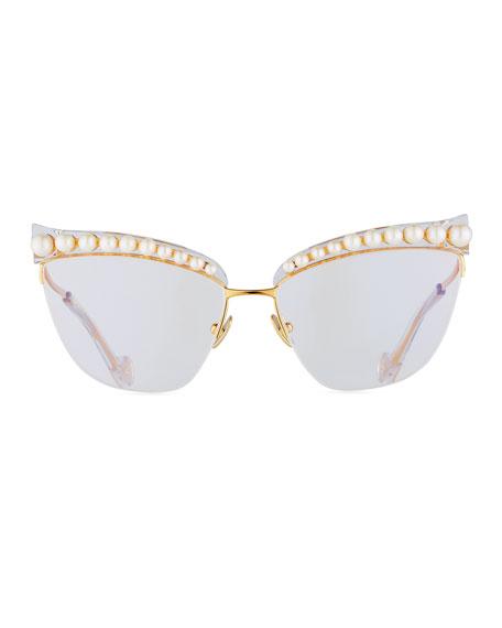 Divine Li'l Something Semi-Rimless Optical Frames, White