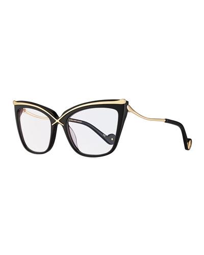 lusciousness divine cat eye optical frames black