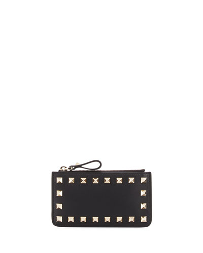 Rockstud Leather Zip Key Case