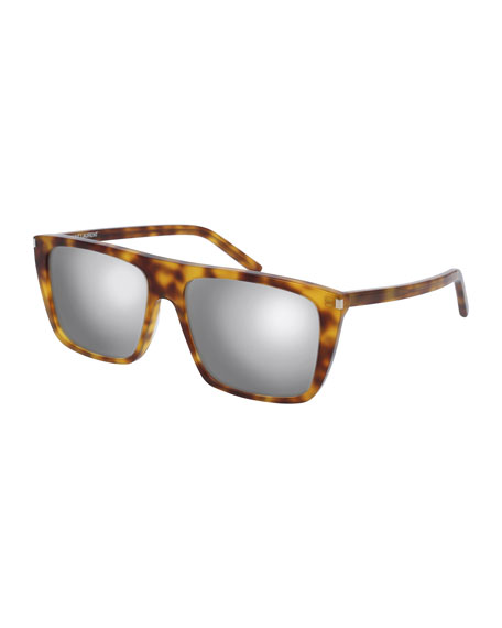 Mirrored Flat-Top Sunglasses, Brown Havana