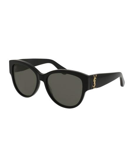 Saint Laurent Monochromatic Cat-Eye Sunglasses, Black