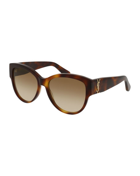 Saint Laurent Gradient Cat-Eye Sunglasses, Brown Havana