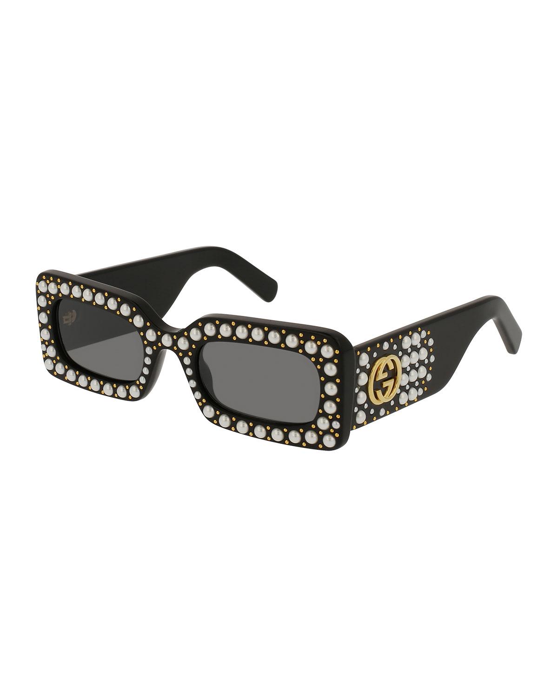 3dca3bf65 Gucci Chunky Studded Square Sunglasses, Black | Neiman Marcus