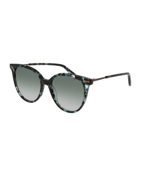 Bottega Veneta Squared Cat-Eye Sunglasses, Havana Blue