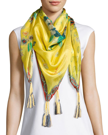 Johnny Was Nancy Printed Silk Tassel Scarf