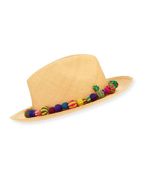 Bonita Straw Pompom Fedora Hat, Medium Brown