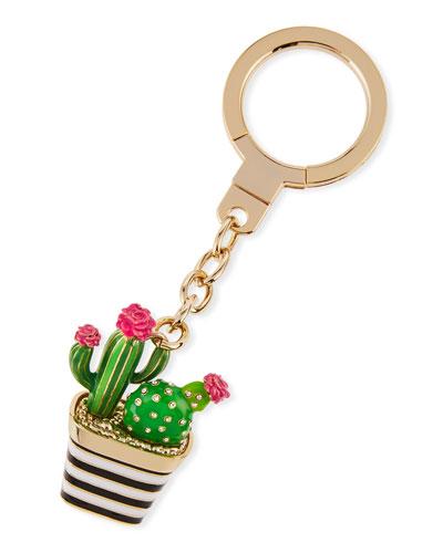 jeweled striped cactus key fob, multi