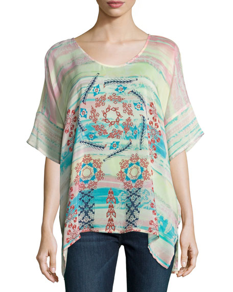 Johnny Was Bay Mix-Printed Georgette Poncho, Multi