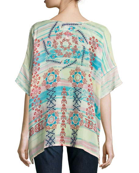Bay Mix-Printed Georgette Poncho, Multi, Plus Size