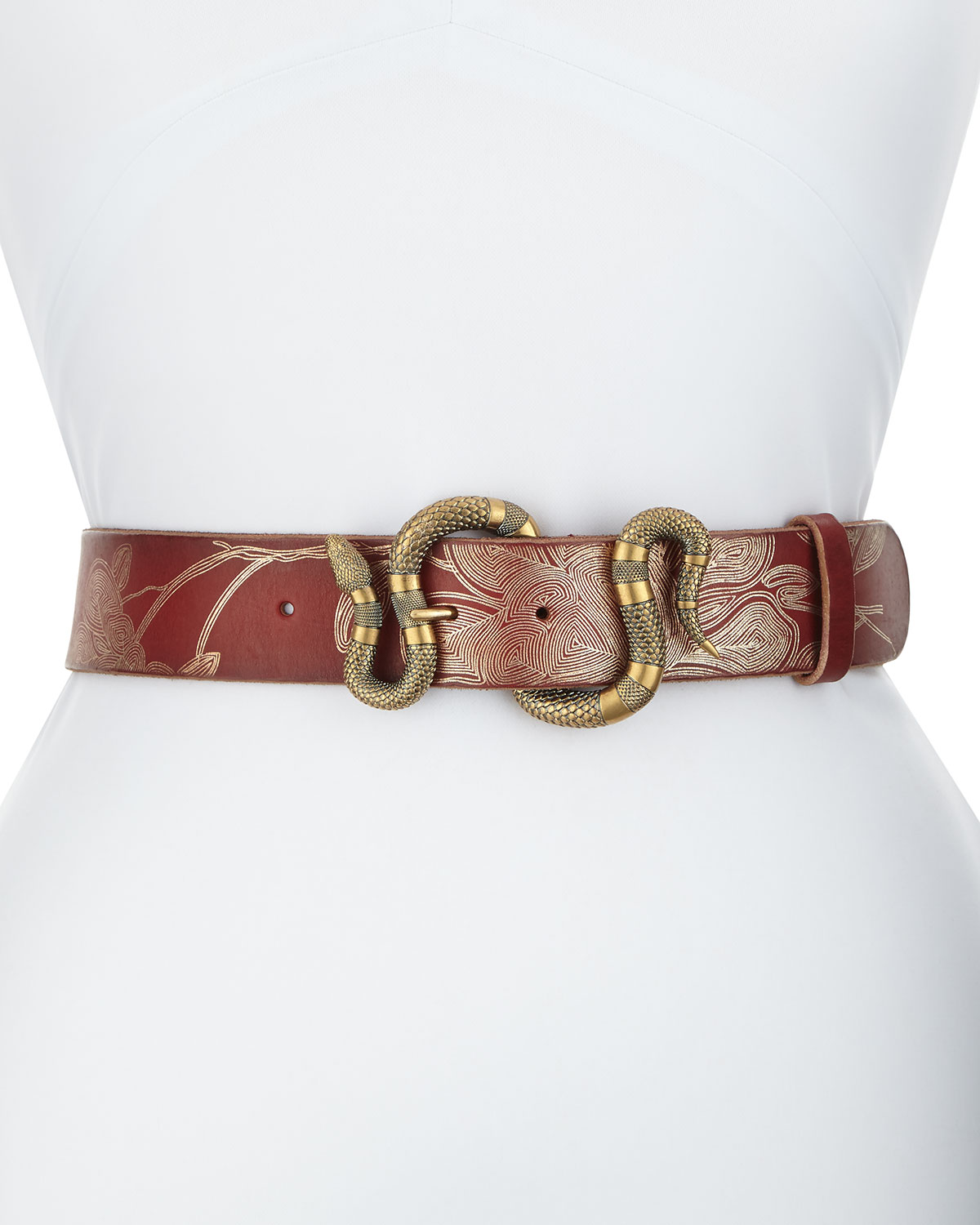 b595d2665b8 Gucci Leather Belt with Snake Buckle