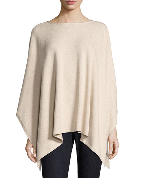 Sequined Cotton-Silk Poncho, Natural
