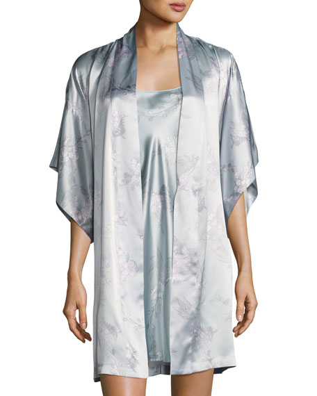 Wisteria Floral-Print Silk Short Wrap Robe, Blue Pattern
