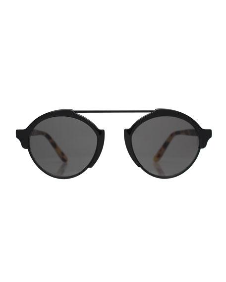 Milan3 Polarized RoundSunglasses, Black/Tortoise