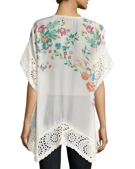 Le Beau Floral-Print Georgette Poncho, White, Plus Size