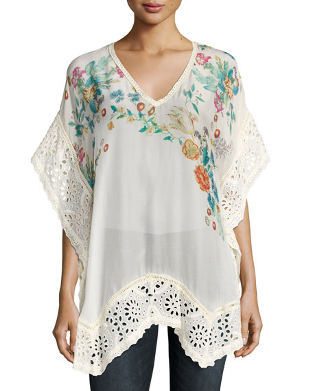 Johnny Was Le Beau Floral-Print Georgette Poncho, White,