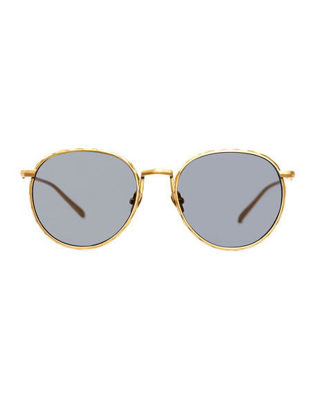 Corpus Round Mirrored Sunglasses, Yellow Gold/Black