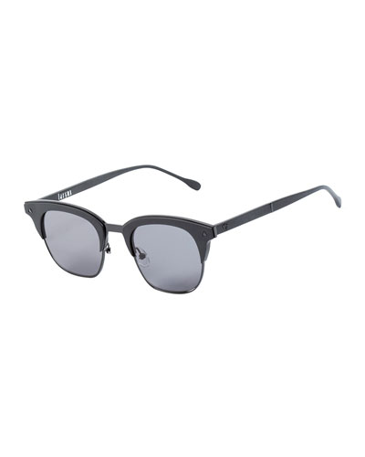 Larynx Square Semi-Rimless Sunglasses, Black
