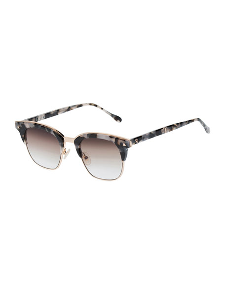 Valley Eyewear Larynx Square Semi-Rimless Sunglasses, Pink