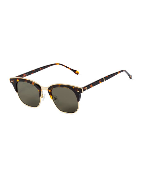 Larynx Square Semi-Rimless Sunglasses, Brown Tortoise