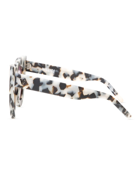 Wolves Mirrored Cat-Eye Sunglasses, Silver/White Tortoise