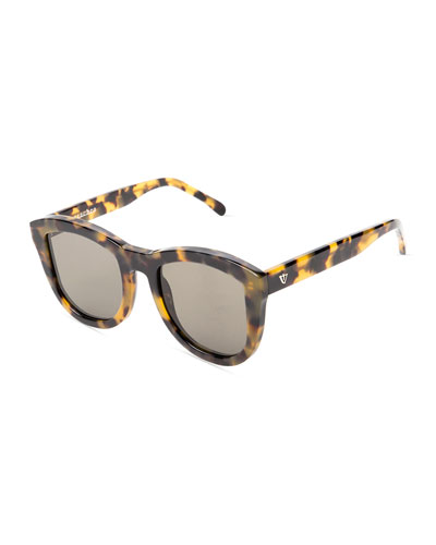 Trachea Monochromatic Butterfly Sunglasses, Brown Havana
