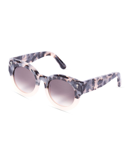 A Dead Coffin Club Round Faceted Sunglasses, Pink Tortoise/Brown