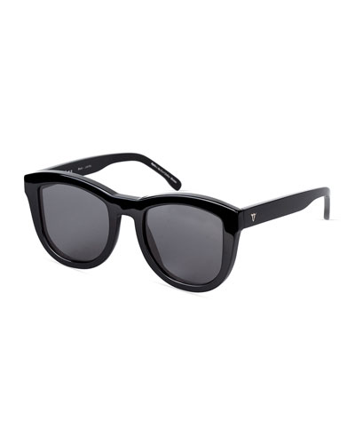 Trachea Monochromatic Butterfly Sunglasses, Black