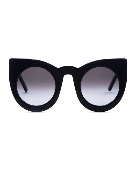 Wolves Gradient Cat-Eye Sunglasses, Black