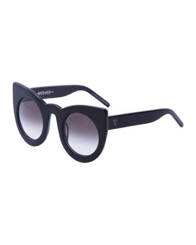 Wolves Gradient Cat-Eye Sunglasses, Black
