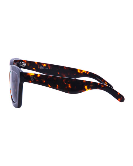 DB Square Gradient Sunglasses, Brown Tortoise
