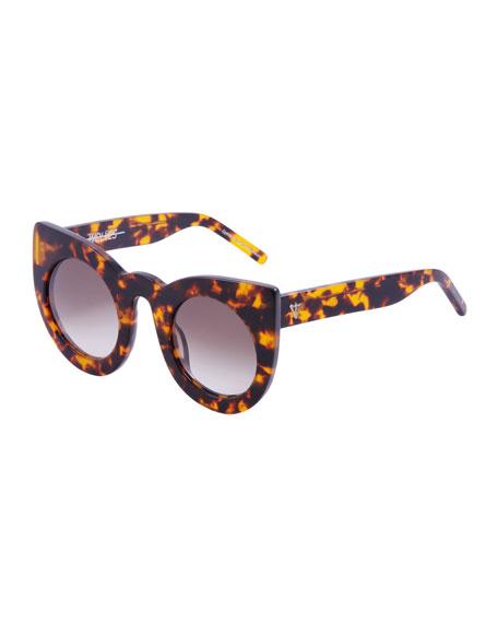 Valley Eyewear Wolves Gradient Cat-Eye Sunglasses, Brown Havana