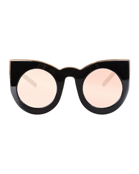 Wolves Mirrored Cat-Eye Sunglasses, Black/Rose