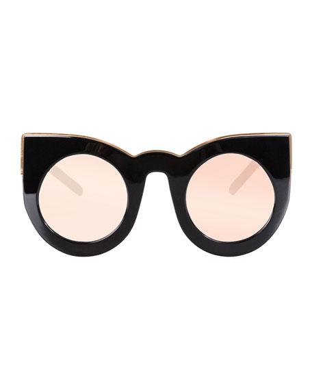 Wolves Mirrored Cat-Eye Sunglasses, Black/Rose
