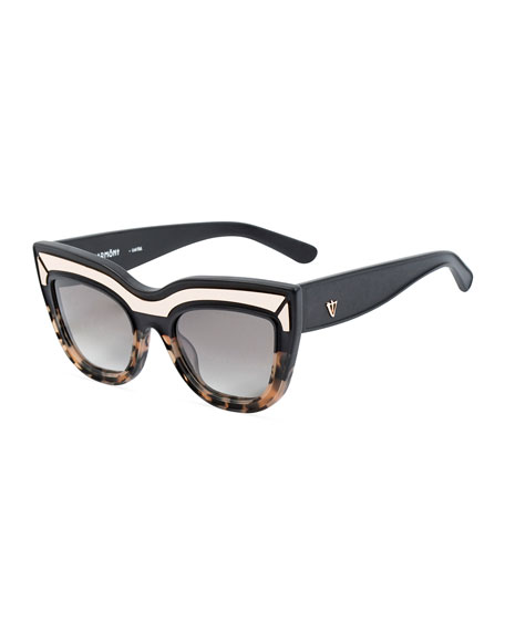 Marmont Limited Edition Cat-Eye Sunglasses, Black/Orange Tortoise