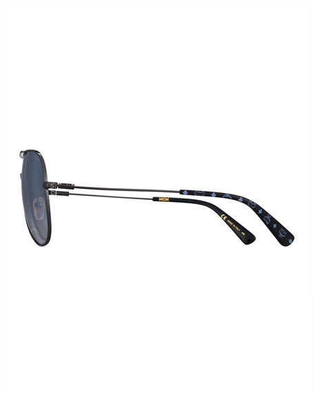 Metal Aviator Logo Sunglasses