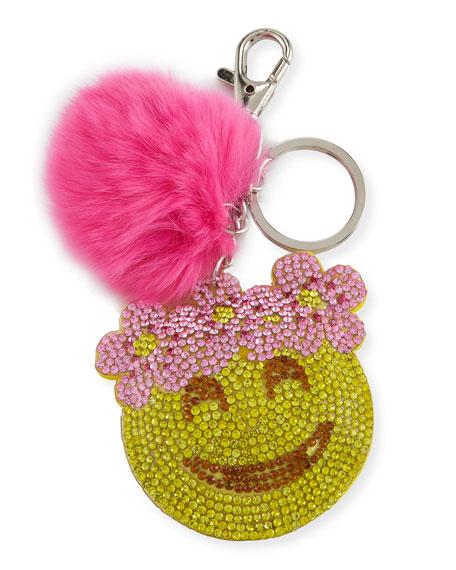 Bari Lynn Girls' Floral Halo Emoji Fur-Pom Key