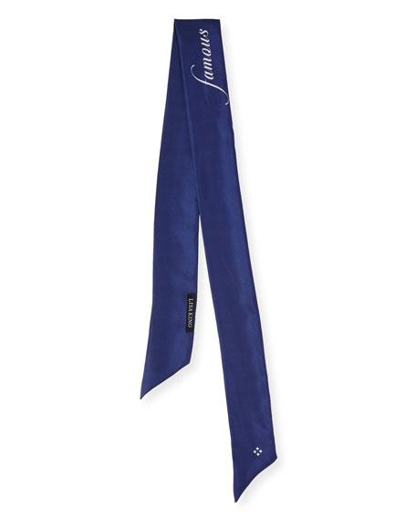 Famous Skinny Silk Twill Scarf, Purple