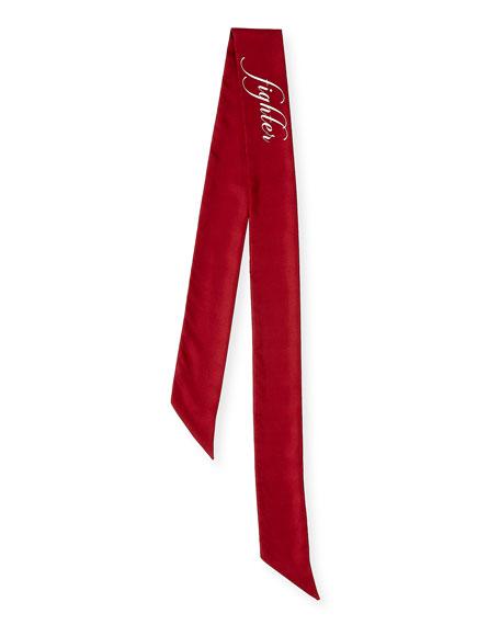 Lover & Fighter Skinny Silk Twill Scarf, Red