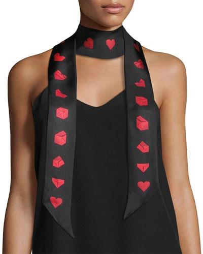 Paper Heart Skinny Silk Twill Scarf, Black/Red