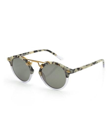 KREWE St. Louis Round Monochromatic Sunglasses w/ 24k